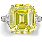 Bo.Dream Rhodium Plated Sterling Silver Canary Yellow Emerald Cut Cubic Zirconia CZ 3-Stone Anniversary Engagement Ring…
