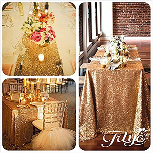 TRLYC 60''x72'' Sparkly Gold Rectangular Sequins Wedding Tablecloth, Sparkly Overlays Table Cloth