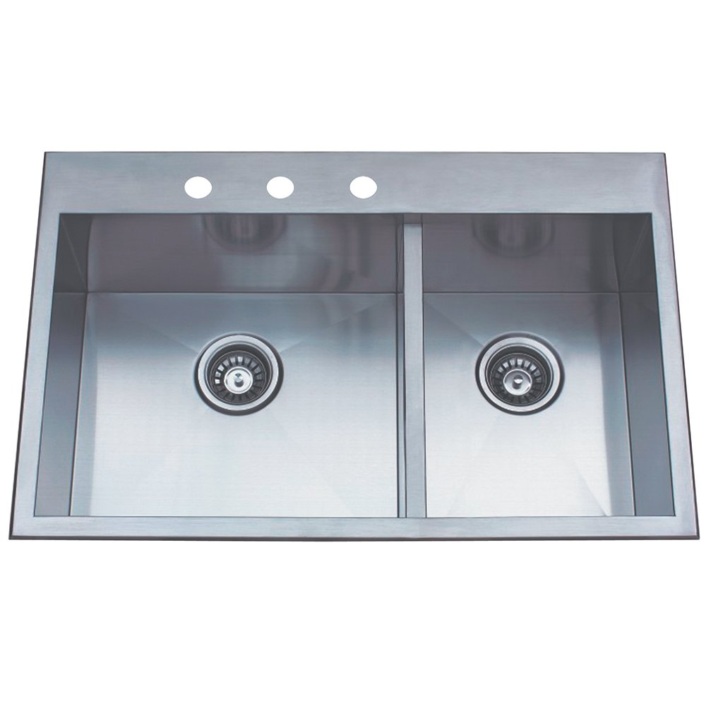 Kingston Brass Gourmetier KDS32219DBNR Uptowne 31-1//2-Inch x 20-1//2-Inch Self-Rimming 70//30 Offset Double Bowl Sink Brushed Stainless Steel