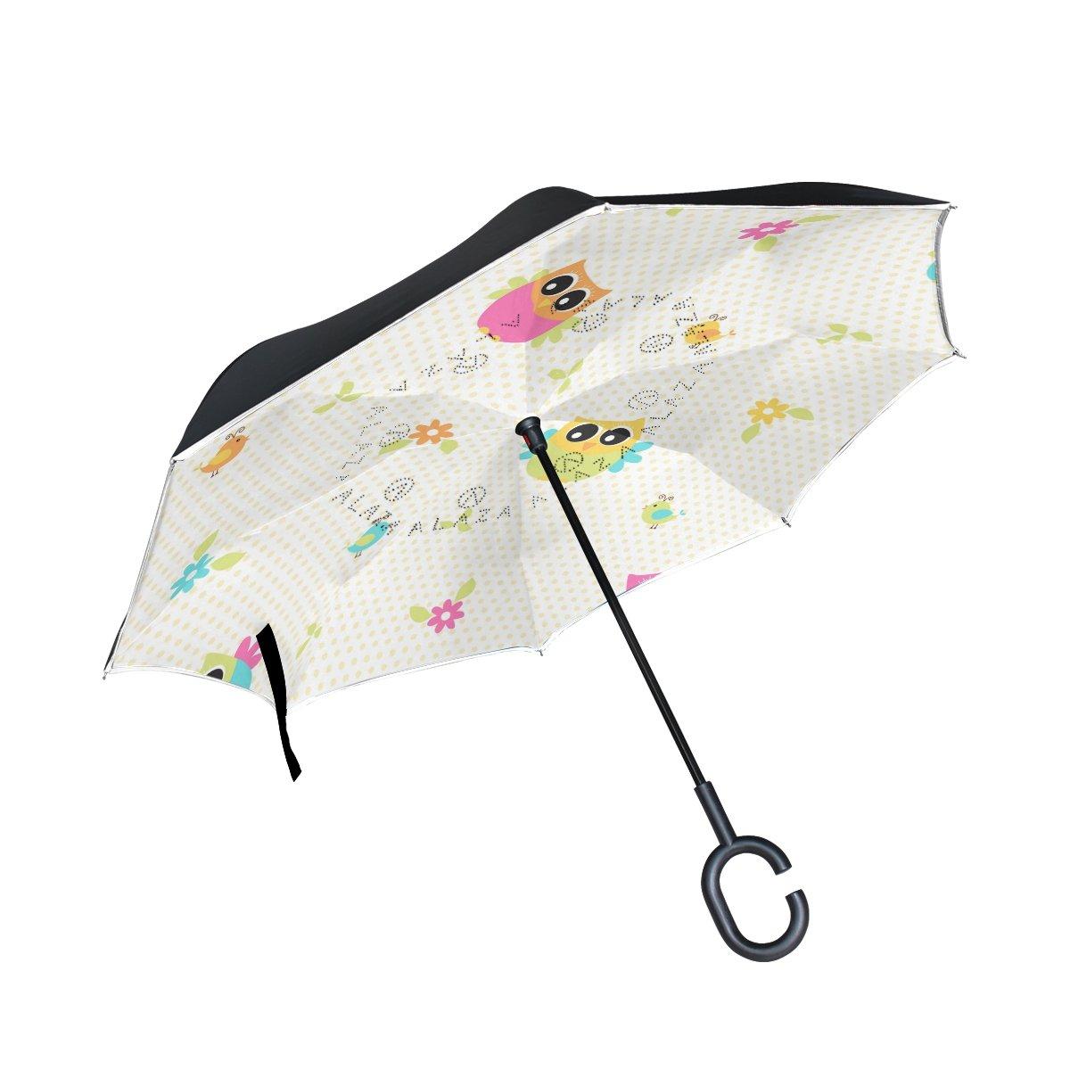 TIZORAX chouettes Fleurs inversé double couche droites parapluies sur l'envers réversible Parapluie avec poignée en forme de C pour la pluie Soleil de voiture Utilisation