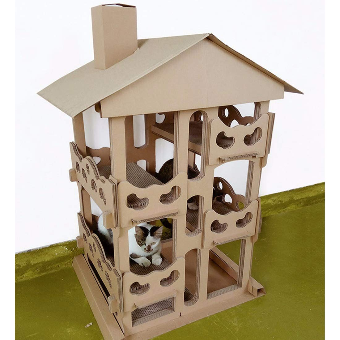 GUGEI Cartón Cat House Scratcher Bed Cave Nest Nest Cat Cat Climbing Frame Cat Condos Cat Scratch Post (Color : Cat Villa): Amazon.es: Hogar