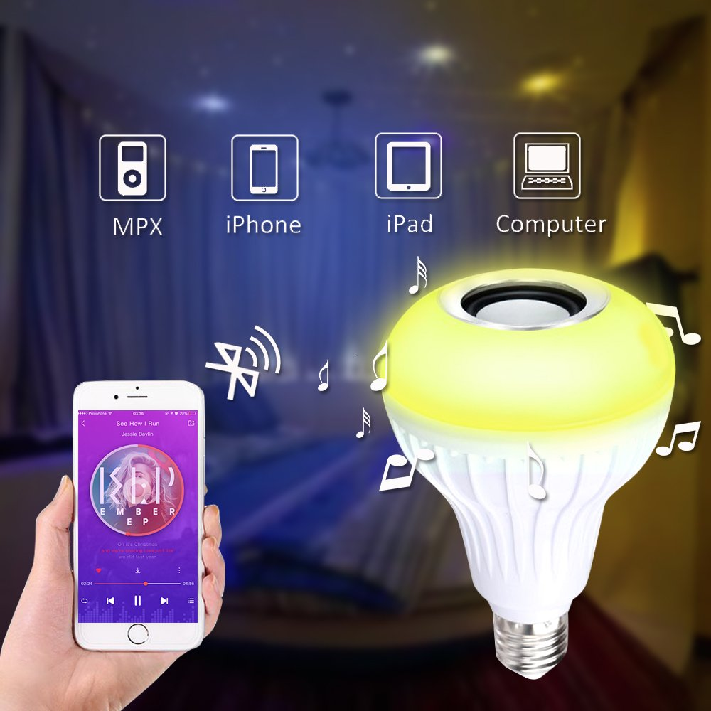 Amteker LED Light Bulb with Integrated Bluetooth Speaker, E27 RGBW Changing Color Lamp Built with Remote Control for Home, Stage, Bar, Party Decoration