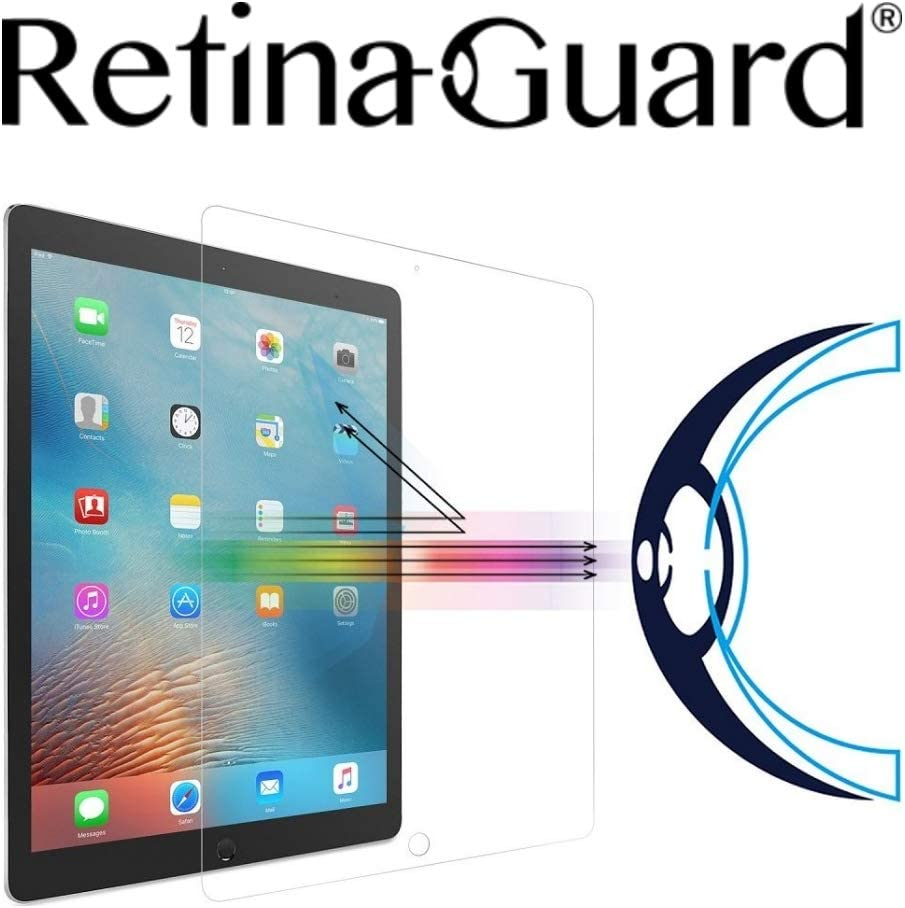 RetinaGuard iPad Pro 12.9 Inch Anti Blue Light Tempered Glass Screen Protector (Transparent), SGS and Intertek Tested, Blocks Excessive Harmful Blue Light, Reduce Eye Fatigue and Eye Strain