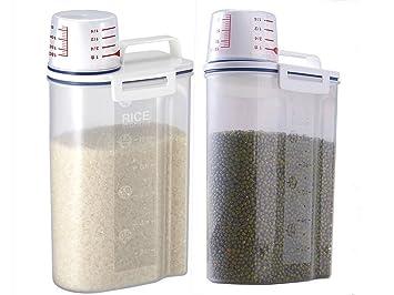 LJH portátil de plástico caja de almacenamiento de alimentos grano harina de cereales dispensador de arroz contenedor sellado tanque con vaso medidor (Set ...