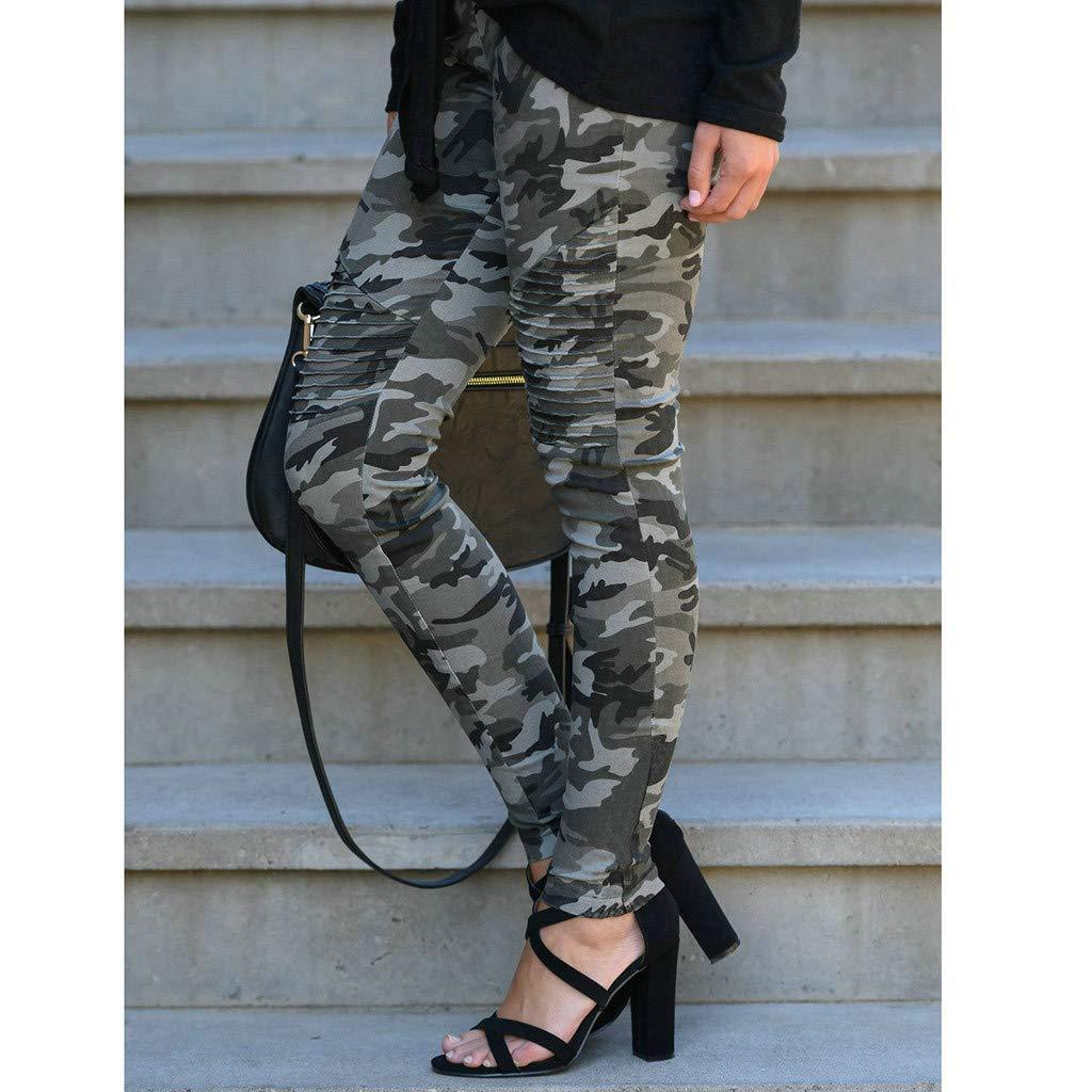 FRAUIT Damen Camouflage Print Hosen Skinny Sport Freizeit Hosen Schlanke Mode Elegant Wundersch/ön Streetwear Mode Wundersch/ön Design Sportstrumpfhosen Leggings