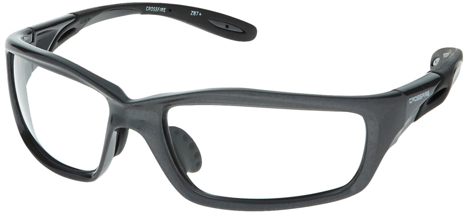 Crossfire Clear Safety Glasses, Scratch-Resistant