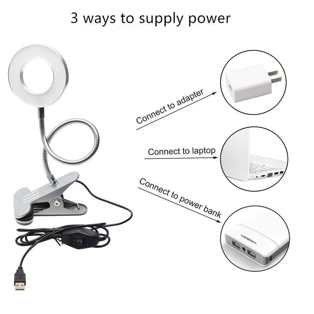6W LED USB Dimmable Clip on Reading Light,Clip Laptop Lamp for Book,Piano,Bed Headboard,Desk,Eye-care 2 Light Color Switchable, Adapter Included(Black) by W-LITE (Image #5)