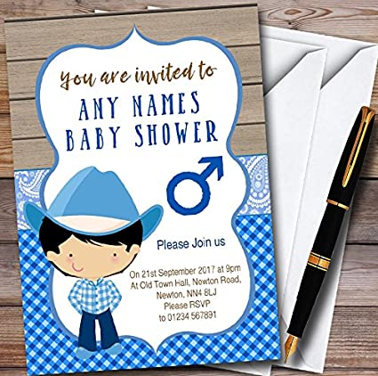 Amazon blue western cute cowboy personalized baby shower blue western cute cowboy personalized baby shower invitations filmwisefo