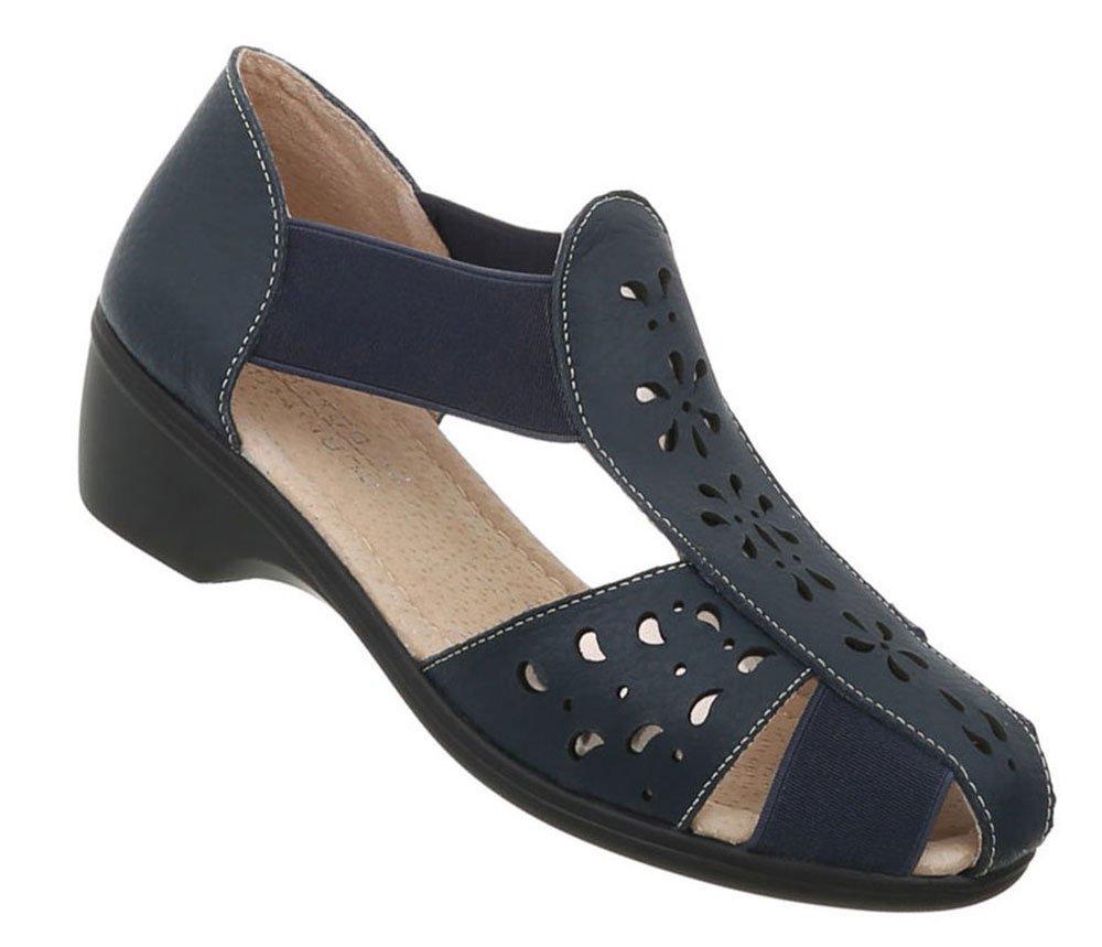 Damen Schuhe Sandalen Leder Pumps39 EU|Dunkelblau