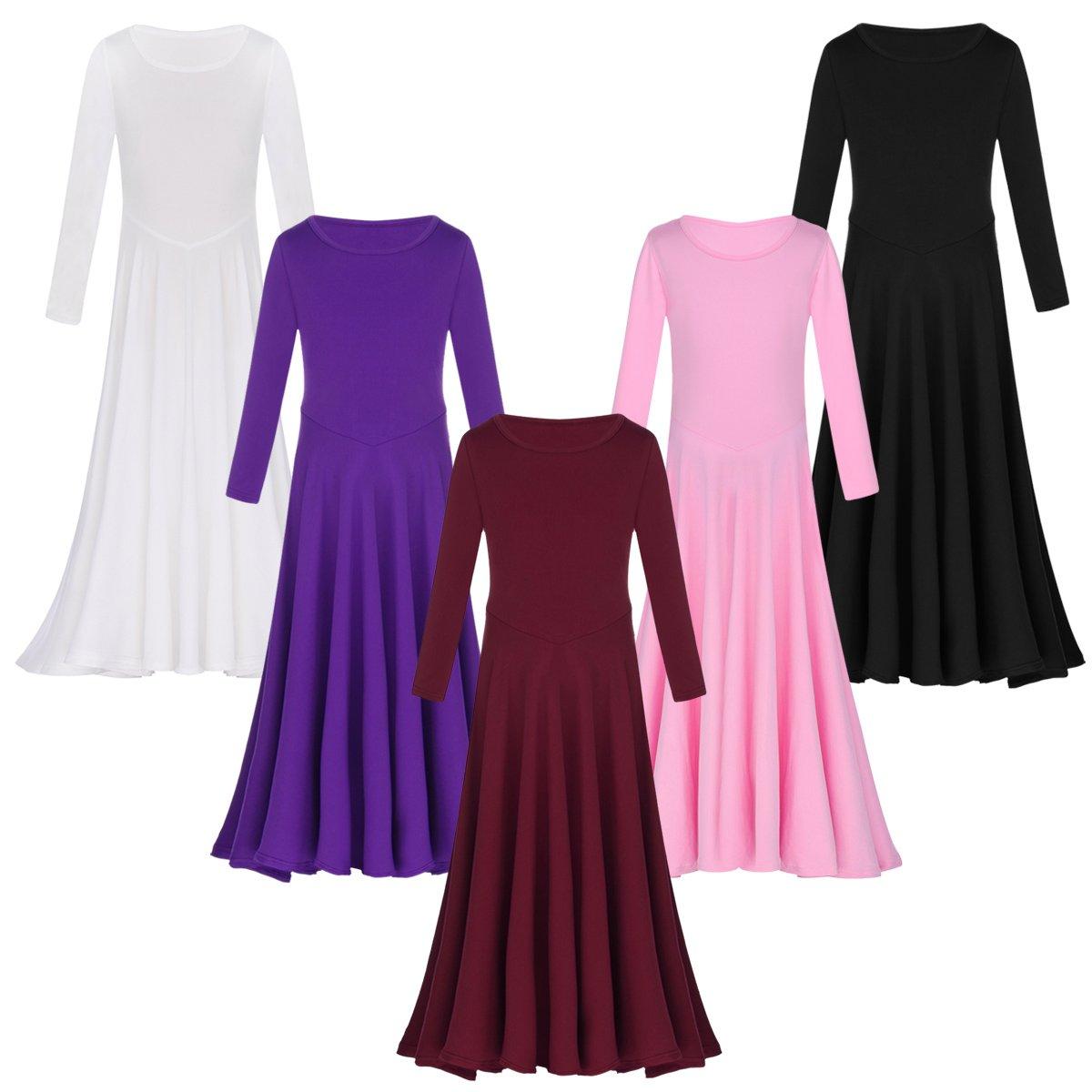 f0e9e0952a6 Kids Girls Liturgical Praise Dress Loose Fit Full Length Long Sleeve Dance  Dress Dancewear Worship Costume