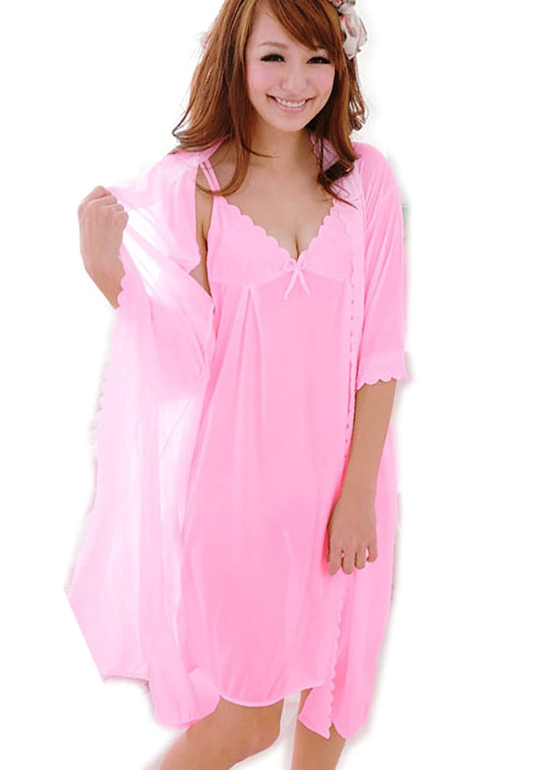 Nighty Kimono 2 pc Set New Women Chemise Nightress Robe Bath Gown ...