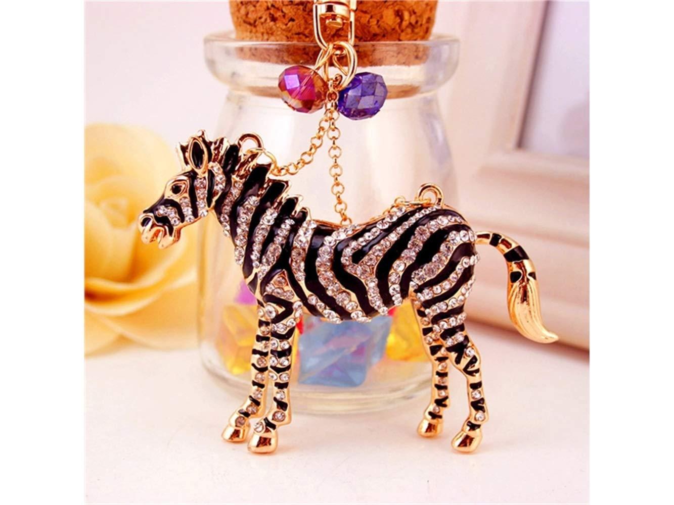 Car Keychain, Cute Exquisite Zebra Keychain Animal Key Trinket Car Bag Key Holder Decorations(Black) for Gift by Huasen (Image #5)