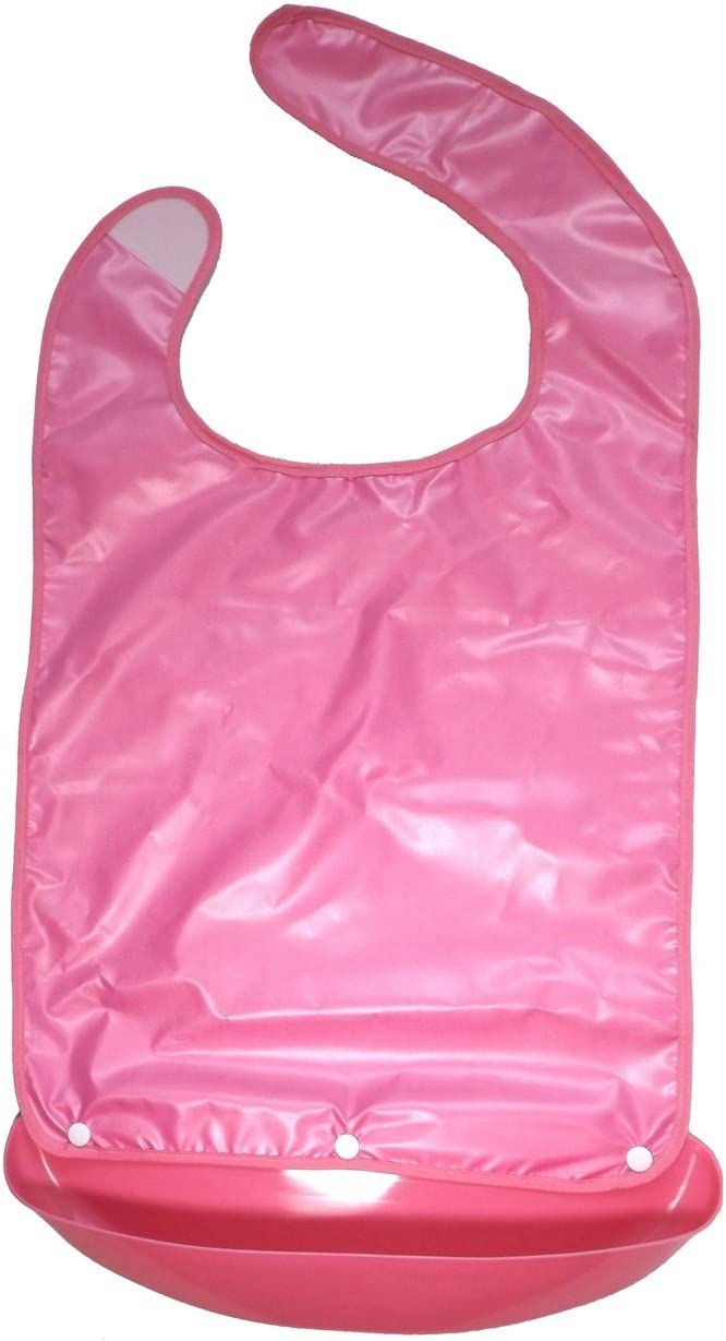 Widen Adult Bib Napkin Apron Waterproof Mealtime Protector with a Plastic Pocket Crumb Catcher Easy to Clean for Seniors Disabled Patients White-Collars Well-Dressed Gift Grandma XL Pink