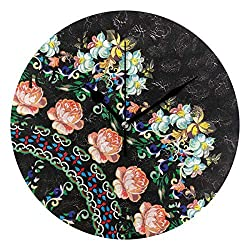 Ralally Quadrant with Pink Roses On Black Wooden Wall Clock Decorative 12 Inch Round Clock for Home Office School