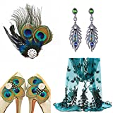 1920s Gatsby Flapper Costume Accessories Peacock Feather Hair Clip Earrings Shoes Clip Decoration Lace Scarf Wrap