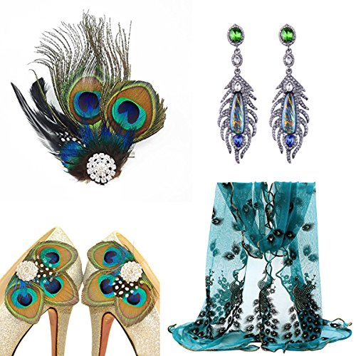 1920s Gatsby Flapper Costume Accessories Peacock Feather Hair Clip Earrings Shoes Clip Decoration Lace Scarf (Peacock Costume Womens)