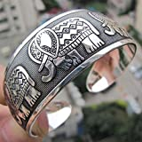 Sumanee Metal Vintage Tibetan Totem Silver Elephant Bracelet Cuff Bange Jewelry