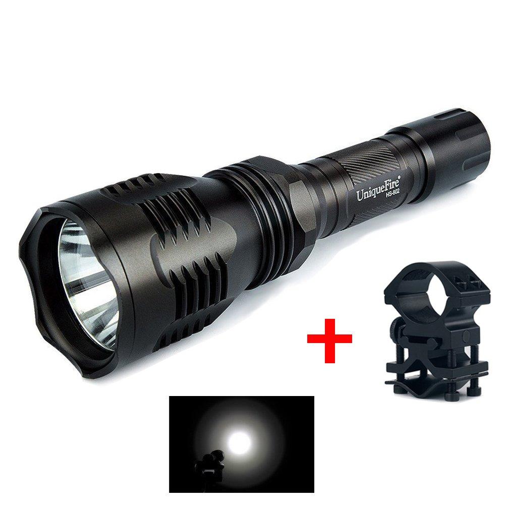UniqueFire HS - 802 XRE grün, Notfall-Taschenlampe mit Beleuchtung, lange Akku-Taschenlampe