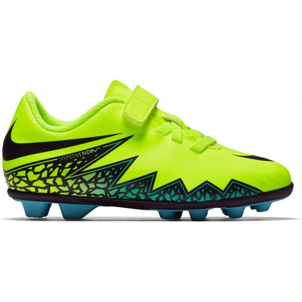 Nike Jr Hypervenom Phade II V FGR Soccer Toddler//Little Kid Volt//Hyper Turquoise//Clear Jade//Black Kids Shoes