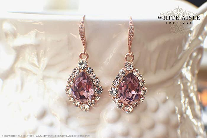 32f9f8dfdb648 Amazon.com  Antique Pink Rose Gold Bridal Earrings Wedding Jewelry Set  Swarovski Crystal Custom Pendant Earrings Bracelet Hair Comb Hair Pins   Handmade