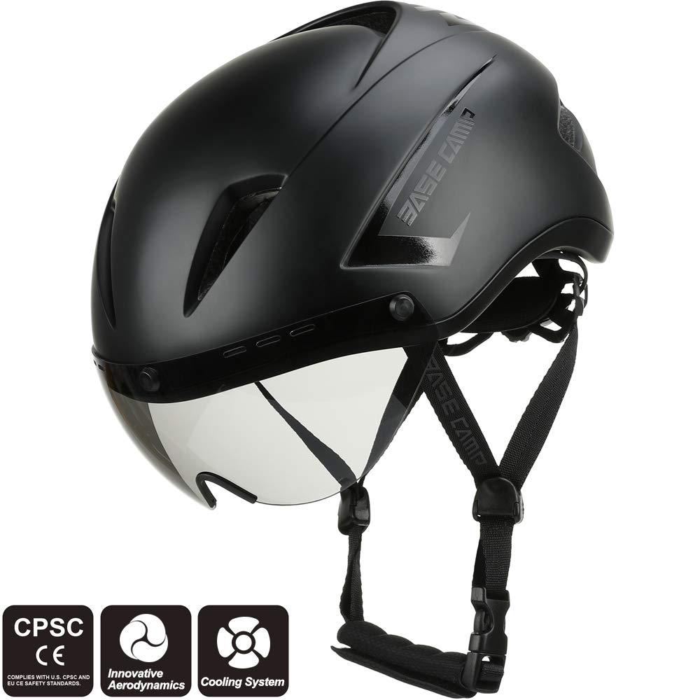 Base Camp AIRCROSS Road Bike Helmet with Detachable Shield Visor - Adjustable Size 54-58 cm BC005