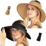 Women Sun Visors Foldable Straw Hats Summer Beach Packable Hat Floppy Wide Brim Cap Big Heads Sombrero Black Khaki