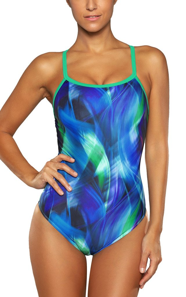 ALove One Piece Athletic Swimwear Printed Racerback Swimsuit Women Green L
