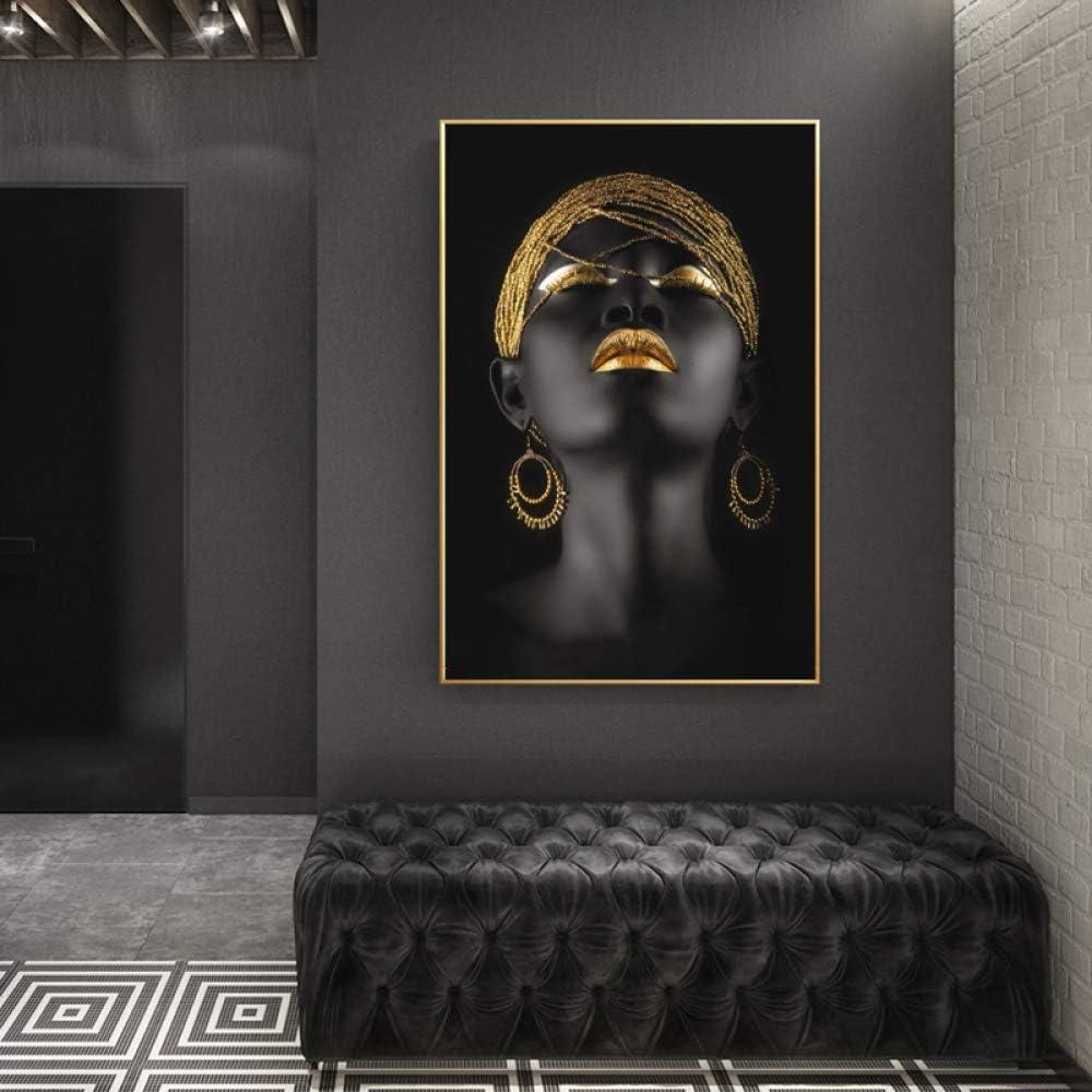 NIMCG Golden Makeup Canvas Painting Wall Art Pictures Prints Black Woman Wall Art for Living Room Decoración del hogar Carteles e Impresiones (Sin Marco) 50x70CM: Amazon.es: Hogar