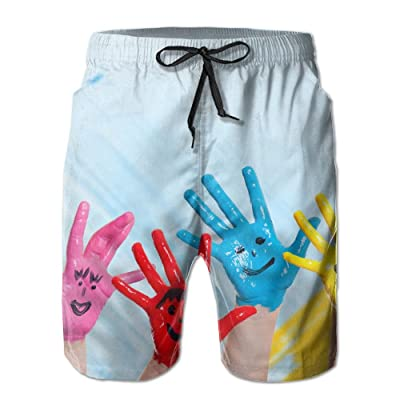 A Happy Family with A Smiling Face On His Hand PaintHandsome Fashion Summer Cool Shorts Swimming Trunks Beachwear Beach Shorts