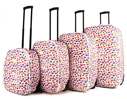 TC-HP-01 White Hearts Luggage Set of 4 - Funky Lightweight Aero Travel Suitcase
