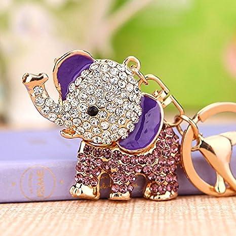 Amazon.com: Cute Big Ears elefante llavero brillante bolso ...