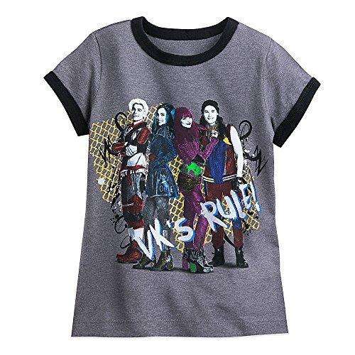 Disney Descendants 2 Cast Ringer T-Shirt for Girls Size M (7/8) Gray