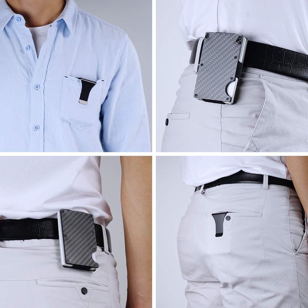 Carbon Fiber Wallet /& Metal Slim Money Clip RFID Blocking Credit Card Case Anti-Theft Cards Holder Black for Men