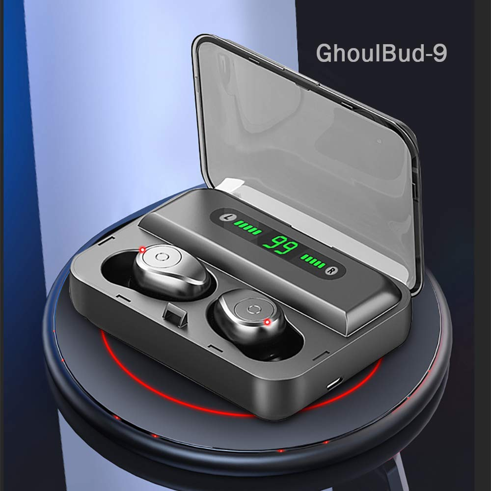 GhoulBud 9 - True Wireless Earbuds, Bluetooth Earphones, Wireless Headphones, Bluetooth 5.0 Deep Bass, 240 H Battery Charge, IPX7 Waterproof, Quality Stereo in-Ear Headphones (Black)