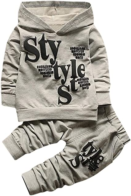 Amazon Com Boy Clothes Set For 1 5 Years Old Toddler Baby Boys Kid Letter Print Hood Long Sleeve Tops Pattern Pants Outfits Clothing