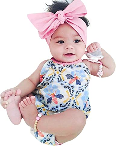 Baby Girl Infant Flower Headband Romper Bodysuit Jumpsuit Outfit Clothes Summer