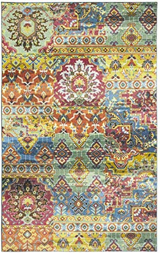 Mohawk Home Prismatic Plano Multicolored Distressed Boho Patchwork Precision Printed Area Rug, 8 x10 , Multicolor