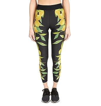 a2842cb1f2f8d 2019 New Women's Lemon Print Yoga Pants High Waist 4 Way Stretch Workout  Leggings by E