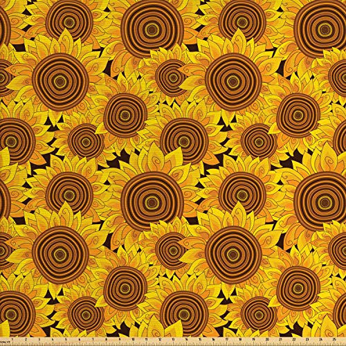 Lunarable Sunflower Fabric by The Yard, Flowers Garden Meadow Idyllic Harvest Theme Autumn Pattern, Decorative Fabric for Upholstery and Home Accents, 1 Yard, Earth Yellow Marigold Brown