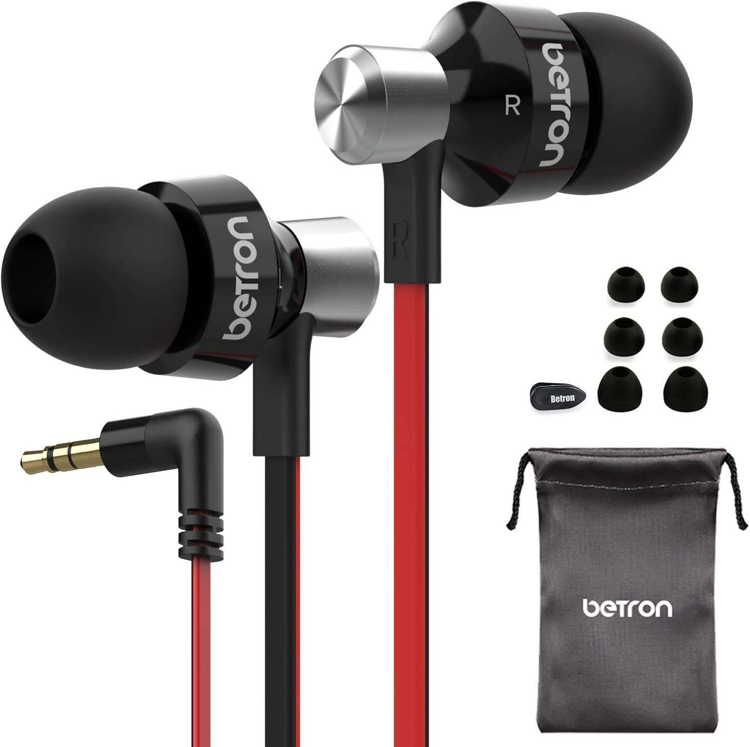 Betron DC950 Earphone, Noise Isolating, Powerful Bass, Replaceable Earbuds, Portable in Ear Headphones, Compatible with iPhone, iPad, iPod, Samsung, MP3 Players and Android Devices, Black: Electronics