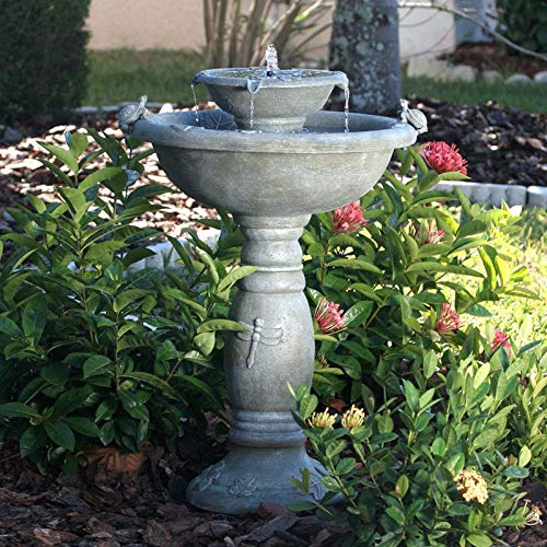 Swag Pads Weathered Stone Finish Outdoor Resin Solar Fountain Bird Bath
