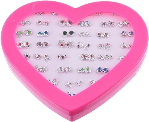 Lot 36 boucles d/'oreilles coeur boite cadeau bijoux