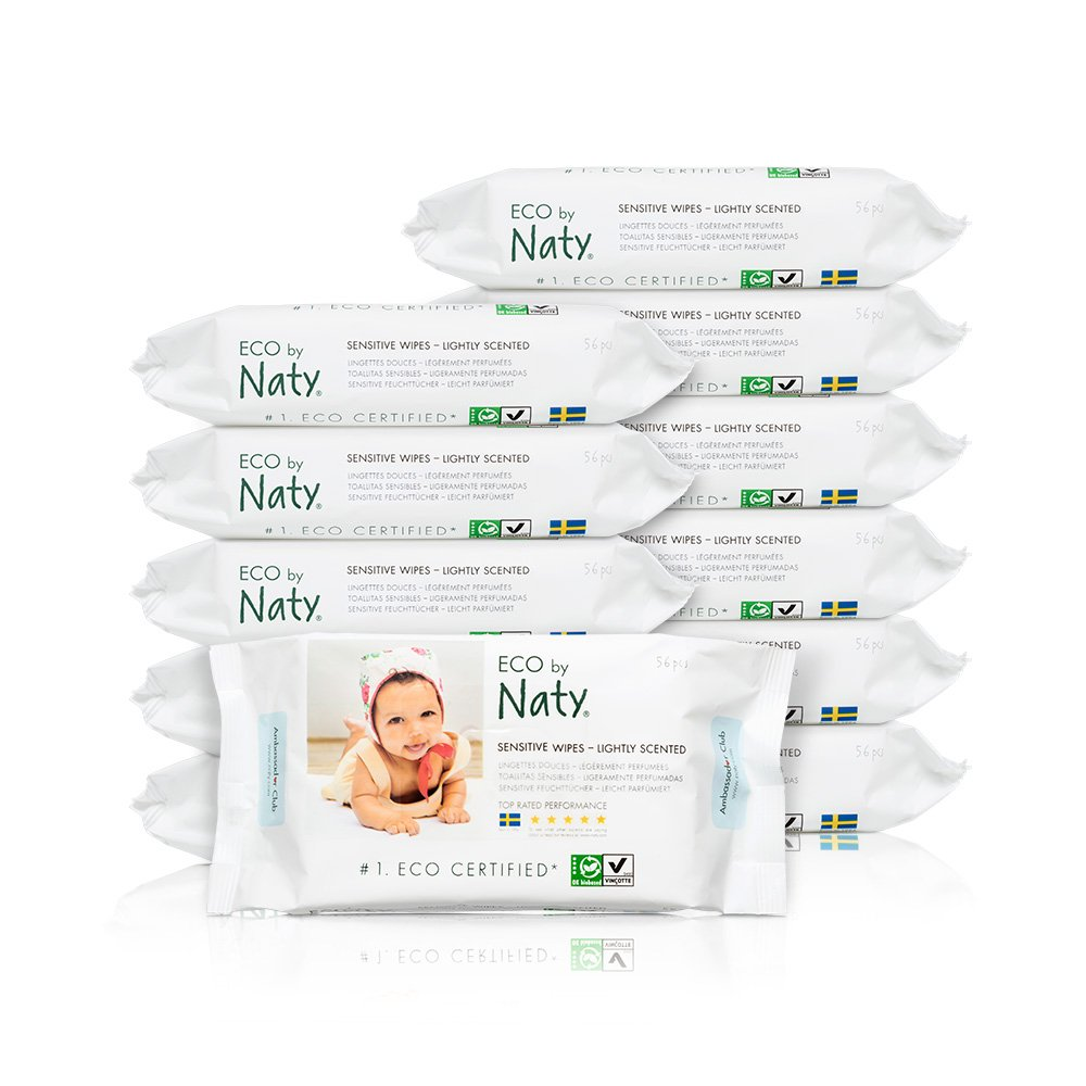 ECO by Naty Baby Wipes, Lightly Scented, 12 packs of 56 (672 Count) Naty SE Canada 245029