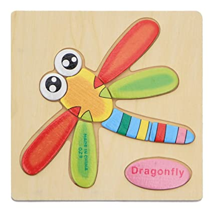 Alician Toy Children Cartoon Wooden Intelligence Jigsaw Puzzle Toy Animal Transportation Cognize Hands Grip Toy Dragonfly