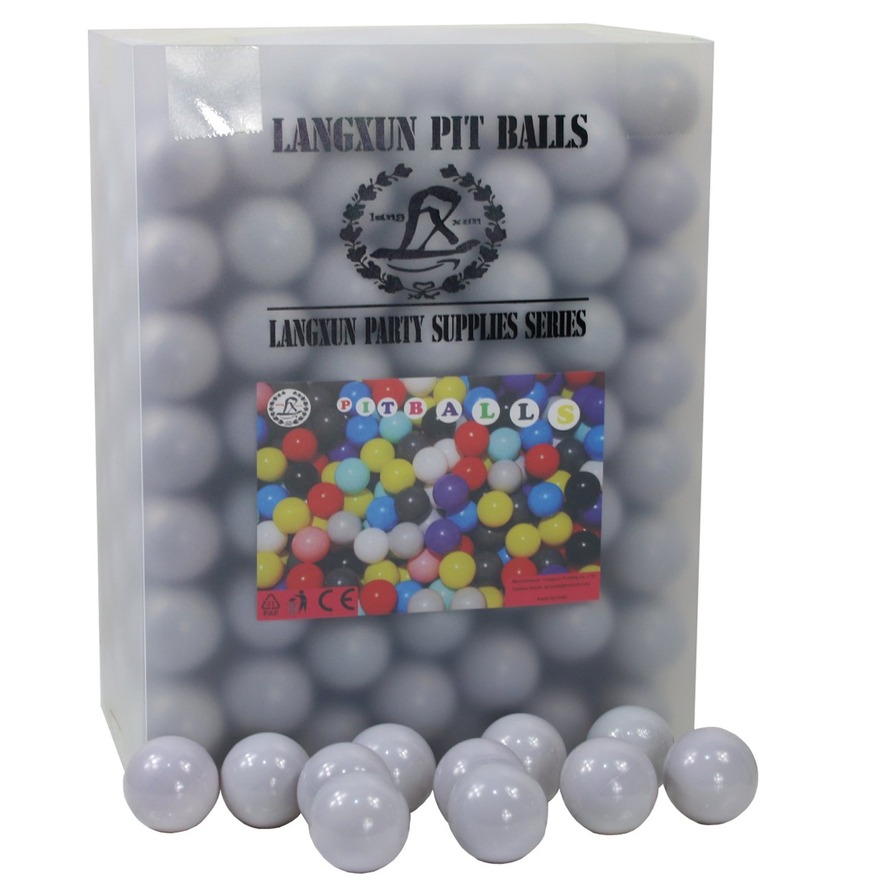 Langxun Pack of 350pcs Ball Pit Balls - Soft Plastic Play Balls for Toddlers for Toddler Ball Pit, Kiddie Pool, Party Decoration, Photo Booth Props, Wedding Decoration