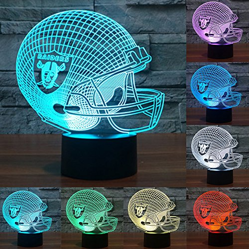 Football Cap Team Logo 3D Lamp Table NightLight 7 Color Change Football LED Desk Light Touch Multicolored USB Power As Home Decoration Lights Tractor for Boys Kids (Touch) (Oakland Raiders)
