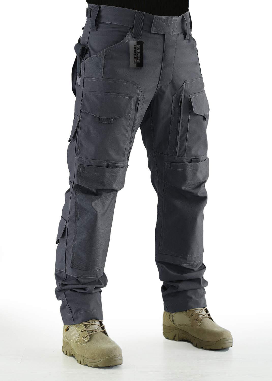 ZAPT Tactical Molle Ripstop Combat Trousers Army Multicam/A-TACS LE Camo Pants for Men (Grey, S)