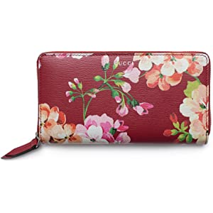 085354b2e4d4 Gucci Shanghai St Red Blooms Blossoms Floral Leather Zip Around Wallet Box  New