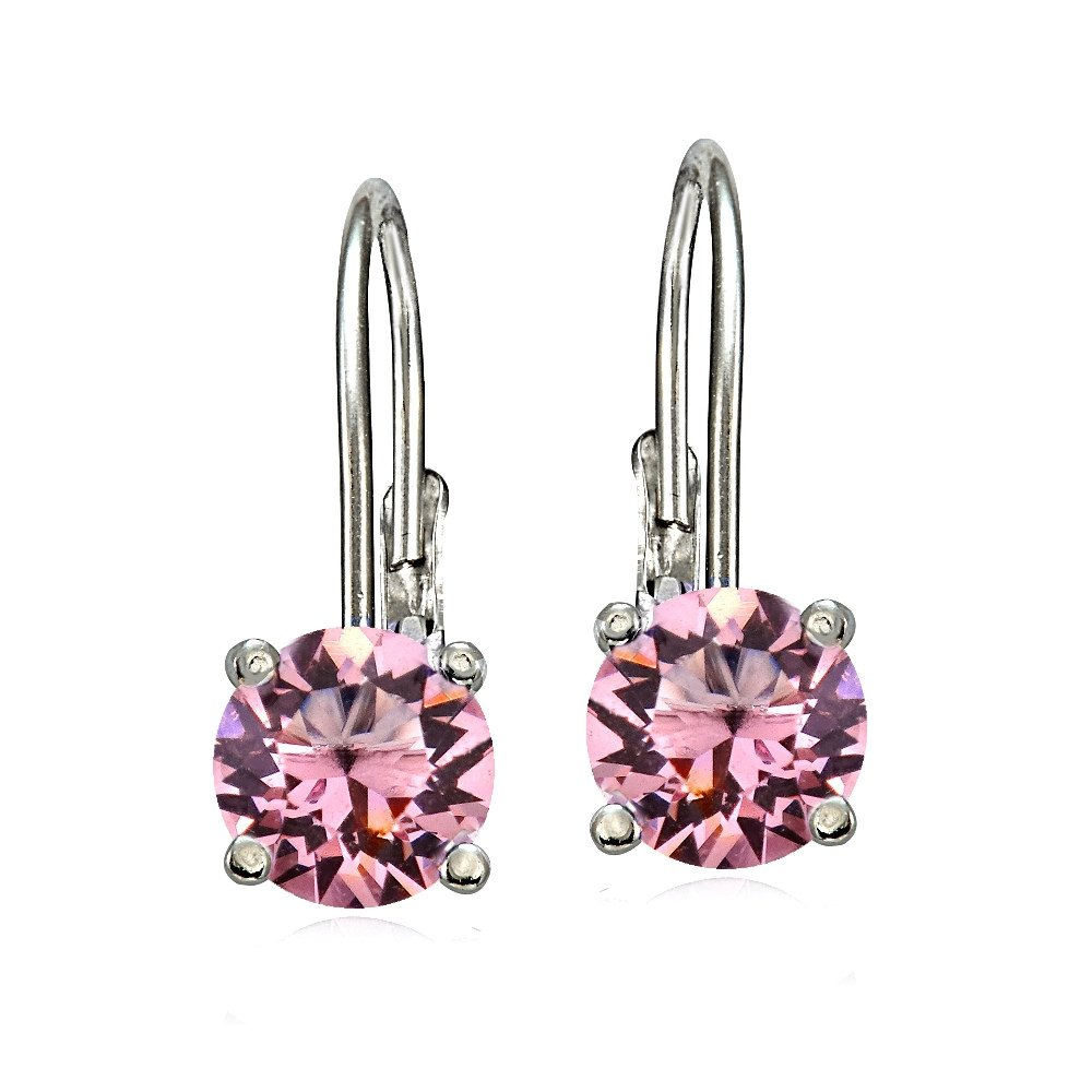 Bria Lou 925 Sterling Silver 6mm Round October Birthstone Color Leverback Drop Earrings Made with Swarovski Crystals