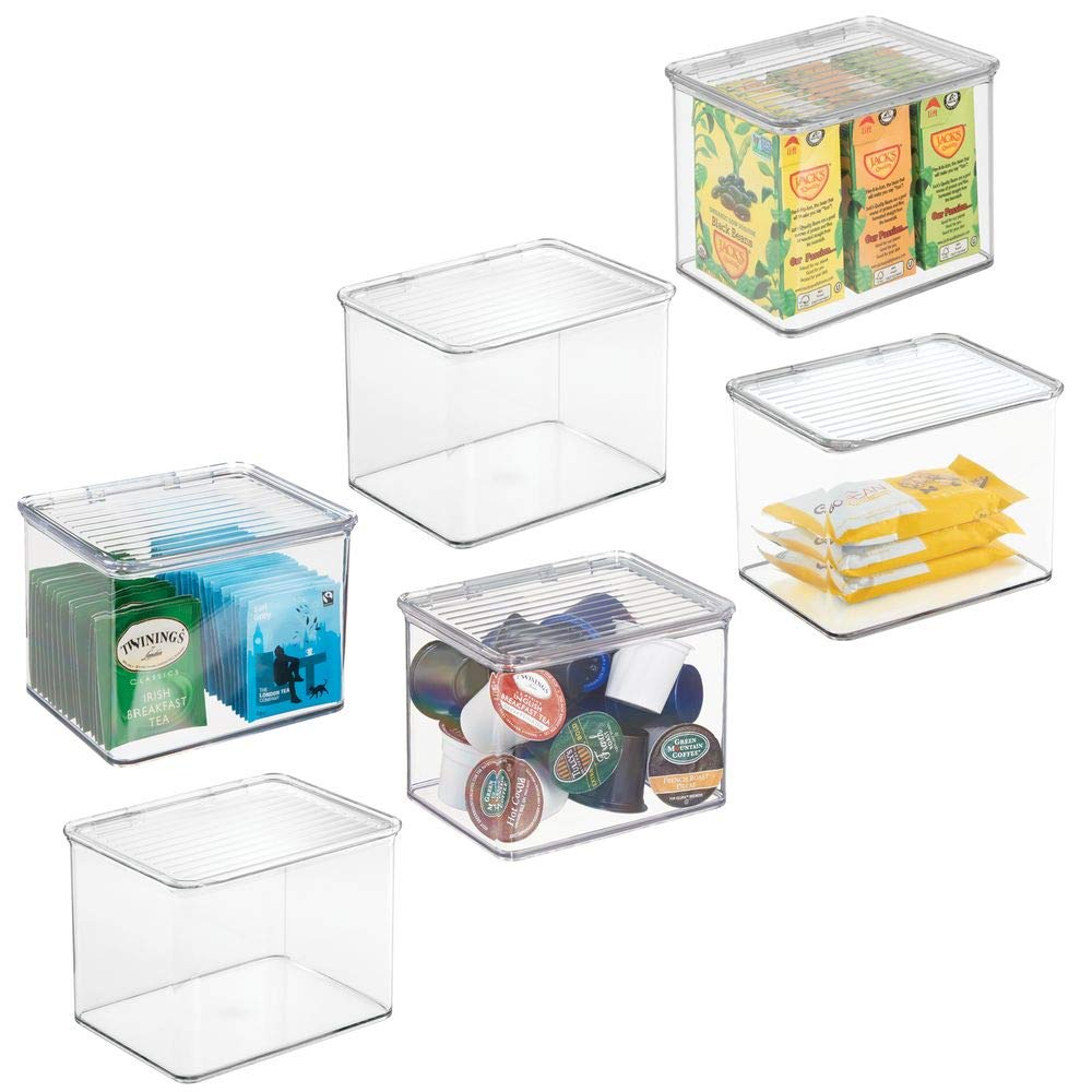 mDesign Plastic Stackable Kitchen Pantry Cabinet or Refrigerator Food Storage Container Bin, Attached Hinged Lid - Organizer for Snacks, Produce, Pasta - BPA Free - Deep Container - 6 Pack - Clear